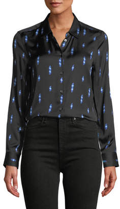 Equipment Lighting-Bolt Print Button-Front Essential Shirt