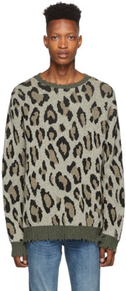 R 13 Green and Beige Leopard Camo Crewneck Sweater