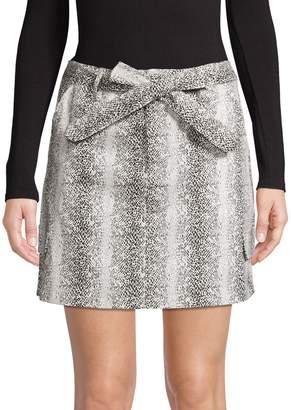 Missguided Snake-Print Utility Cotton Blend Skirt