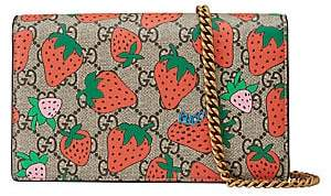 Gucci Women's GG Chain Wallet with Strawberry Print