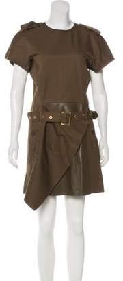 Salvatore Ferragamo Leather-Trimmed Mini Dress w/ Tags