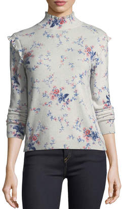 Joie Robbia Floral-Print Long-Sleeve Wool-Cashmere Sweater