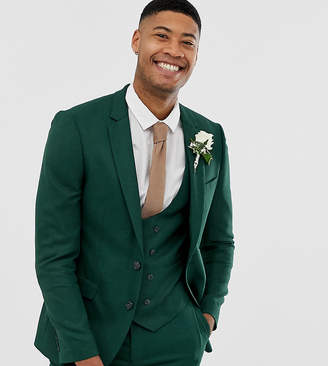 Asos Design DESIGN Tall wedding skinny suit jacket in forest green micro texture