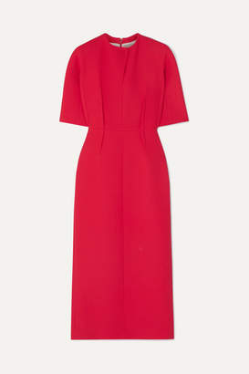 Emilia Wickstead Trista Wool-crepe Midi Dress - Coral