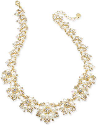 "Charter Club Gold-Tone Crystal and Imitation Pearl Frontal Necklace, 17"" + 2"" extender"