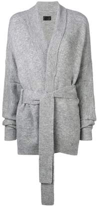 RtA belted mid-length cardigan