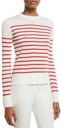 Loro Piana Crewneck Striped Lightweight Cashmere Pullover Sweater