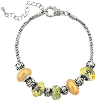 JCPenney DAZZLING DESIGNS Dazzling Designs Silver-Plated Yellow Glass Bead Bracelet