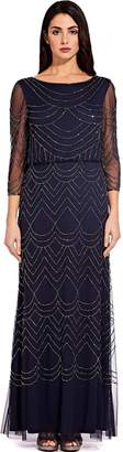Adrianna Papell Navy Bead Mesh Maxi Dress