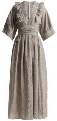 Three Graces London - Adeline Ruffle Trimmed Dress - Womens - Grey Stripe