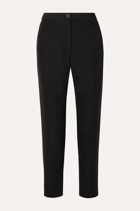 Rag & Bone Meki Grosgrain-trimmed Crepe Tapered Pants - Black