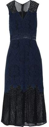 Jonathan Simkhai Crochet-Paneled Corded Lace Midi Dress