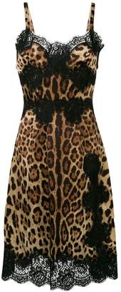 Dolce & Gabbana leopard print flared midi dress