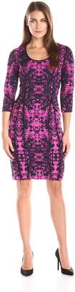 Donna Morgan Women's 3/ Sleeve Printed Bodycon Dress, Pink/Navy