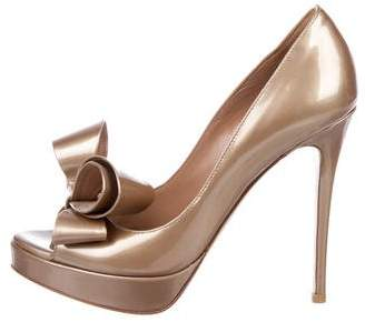 Valentino Patent Leather Pep-Toe Pumps