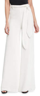 Halston Crinkle Crepe Self-Tie Wide-Leg Pants