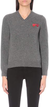 Play Heart-appliqué wool jumper