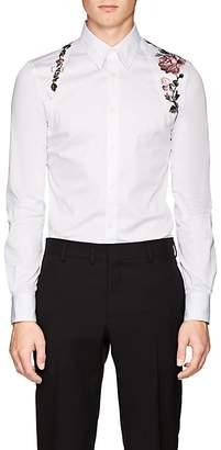 Alexander McQueen Men's Rose-Embroidered Cotton Harness Shirt