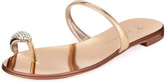 Giuseppe Zanotti Crystal-Embellished Flat Toe-Ring Sandals, Gold