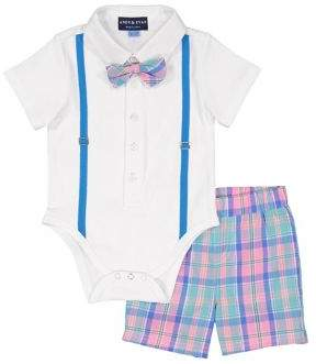 Andy & Evan Baby Boy's Two-Piece Polo Bodysuit and Plaid Shorts Set