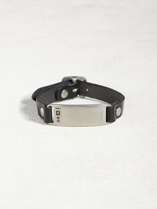 Leather & Pewter ID Plate Bracelet $128 thestylecure.com