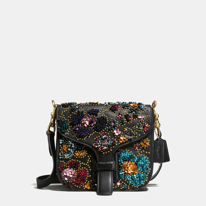 Coach   COACH Coach Courier Bag In Glovetanned Leather With Leather Sequins