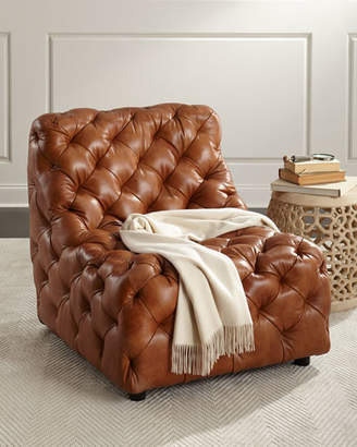 Bernhardt Dunaway Camel Tufted Leather Chair
