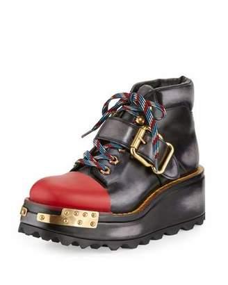 Prada Buckle Leather 60mm Hiking Boot, Black/Scarlet (Nero/Scarlatto) $1,450 thestylecure.com