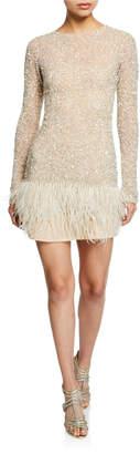 Rachel Gilbert Long-Sleeve Hand Embellished Feather-Hem Dress