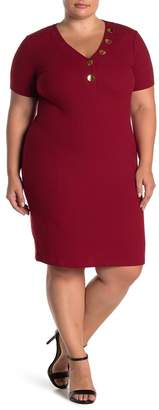 Planet Gold Short Sleenve Ribbed Knit Bodycon Dress (Plus Size)