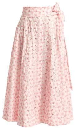 Lisa Marie Fernandez Embroidered Eyelet Cotton Midi Skirt - Womens - White Multi