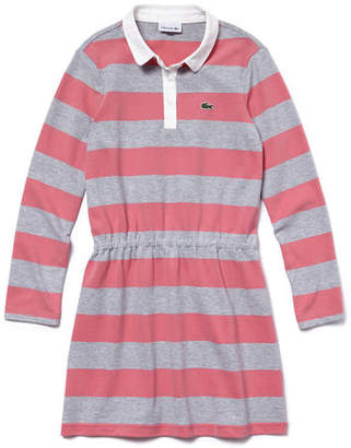 Lacoste Girls' Bicolor Striped Jersey Fitted Polo Dress