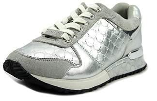 Bebe Sport Racer Women Round Toe Synthetic Silver Walking Shoe.