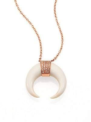 Jacquie Aiche Women's Double Bone Horn, Diamond & 14K Rose Gold Capped Necklace