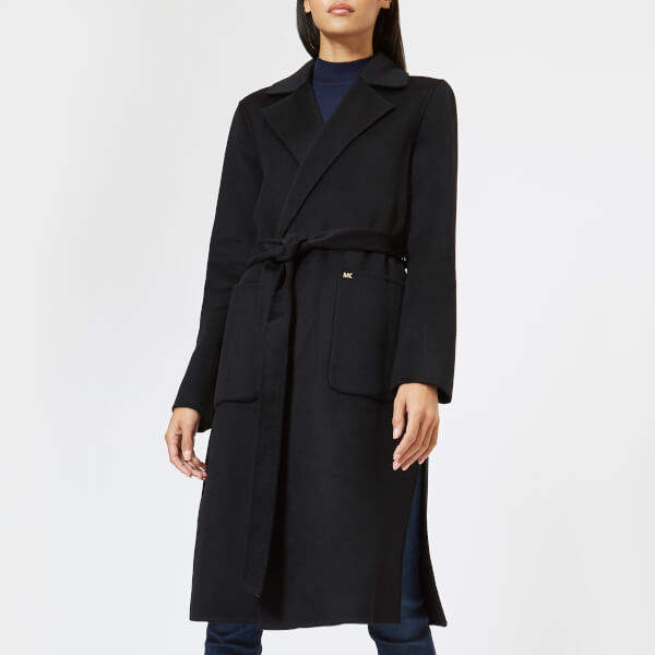 MICHAEL Women's Double Breasted Wool Coat Black