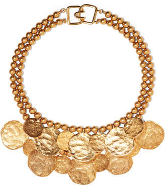 Kenneth Jay Lane Hammered Gold-tone Necklace - one size