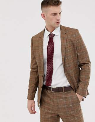 Asos Design DESIGN skinny suit jacket in brown prince of wales check