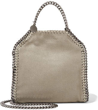 Stella McCartney The Falabella Tiny Faux Brushed-leather Shoulder Bag - Stone