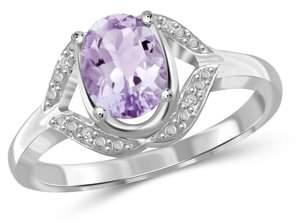 Jewelersclub 1.09 Carat Pink Amethyst Gemstone and Accent White Diamond Ring
