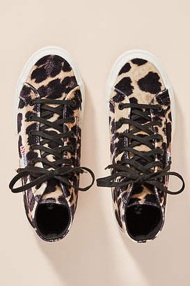 Superga Leopard-Printed Velvet High-Top Sneakers