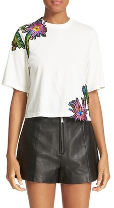 Women's 3.1 Phillip Lim Embroidered Floral Patch Tee $295 thestylecure.com