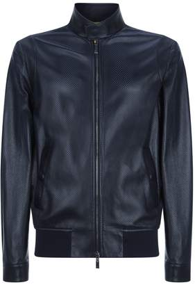 Canali Perforated Leather Jacket