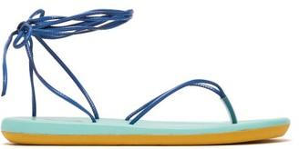 Ancient Greek Sandals Bi Colour Wraparound Leather Sandals - Womens - Blue Multi