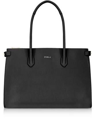Furla Black Leather E/w Pin Medium Tote Bag