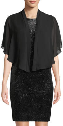 Neiman Marcus Glitter Velvet Sheath Dress with Shawl