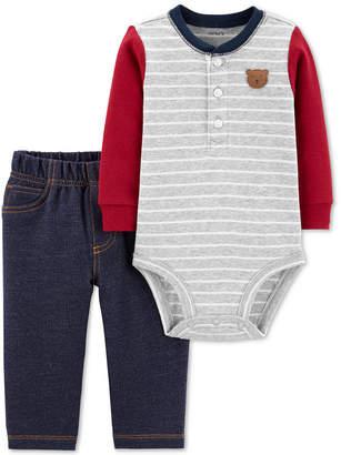 Carter's Carter Baby Boys 2-Pc. Colorblocked Bodysuit & Denim-Look Pants Cotton Set