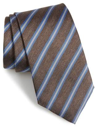 David Donahue Stripe Linen & Silk X-Long Tie