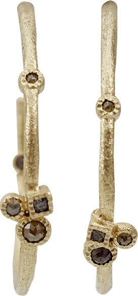 Todd Reed Raw Diamond Hoop Earrings with Rose Cut Diamonds