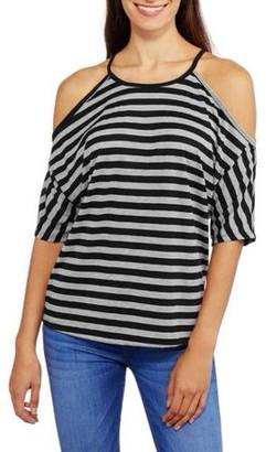 ONLINE Women's High Neck Stripe Soft Knit Ribbed Swing Cold Shoulder T-Shirt