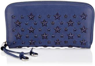 Jimmy Choo FILIPA Pop Blue Leather Wallet with Enamel Stars